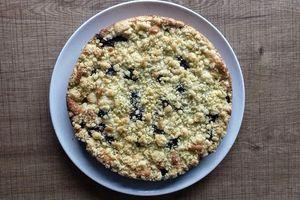 Gâteau crumble poires-myrtilles {recette}