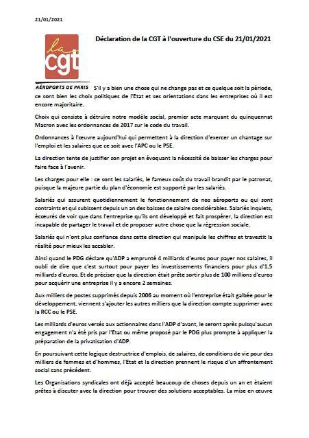 Déclaration CGT à l'ouverture du CSE du 21 janvier