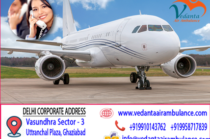 Bed to bed in scoop stretcher and chair medical transfer facility- Vedanta Air Ambulance in Patna