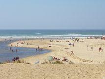L'embouchure du courant de Huchet, dune, sable, bois et rochers