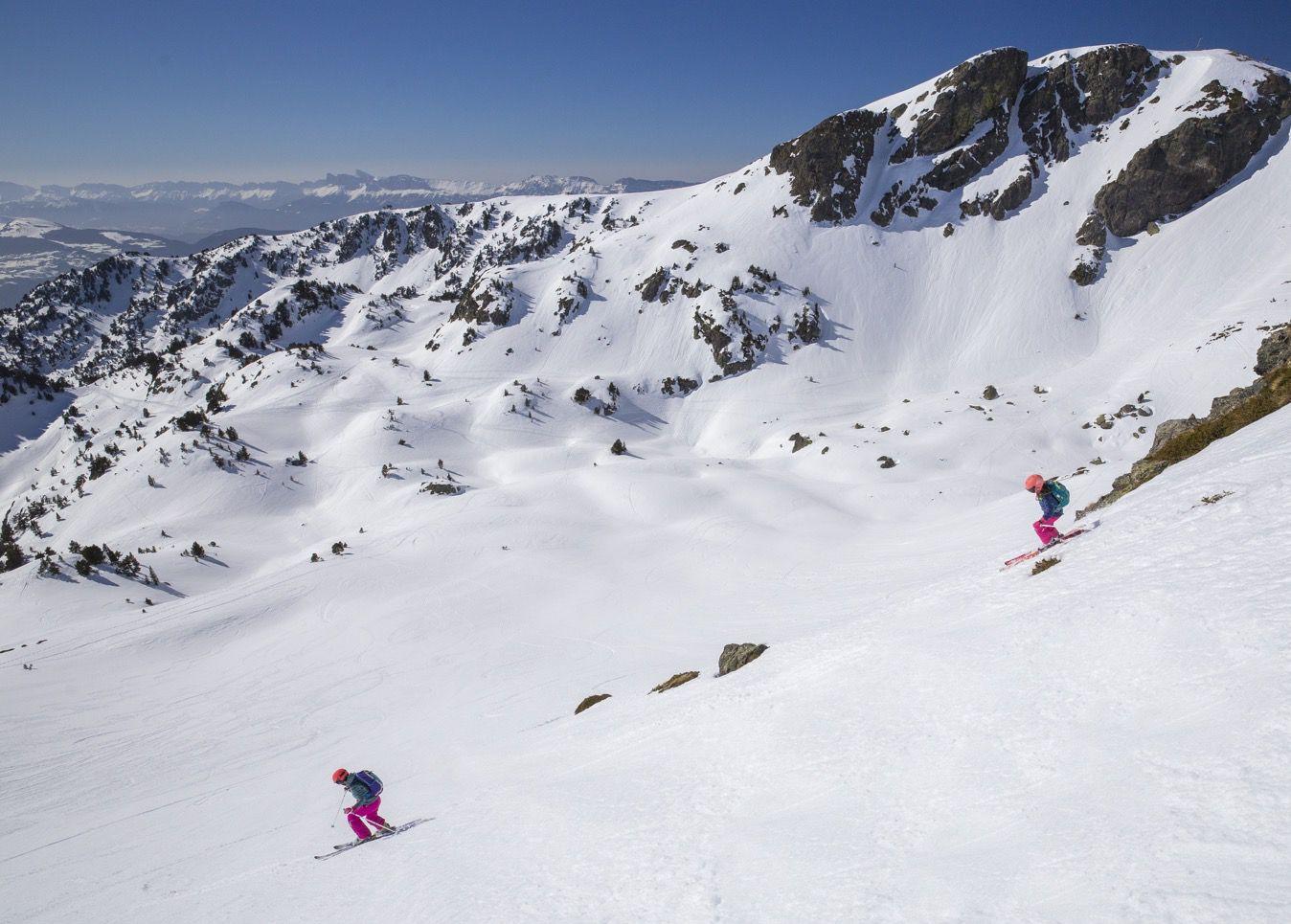 La neige transformée (ici à la Botte de Chamrousse). Sans doute la meilleure option pour débuter.