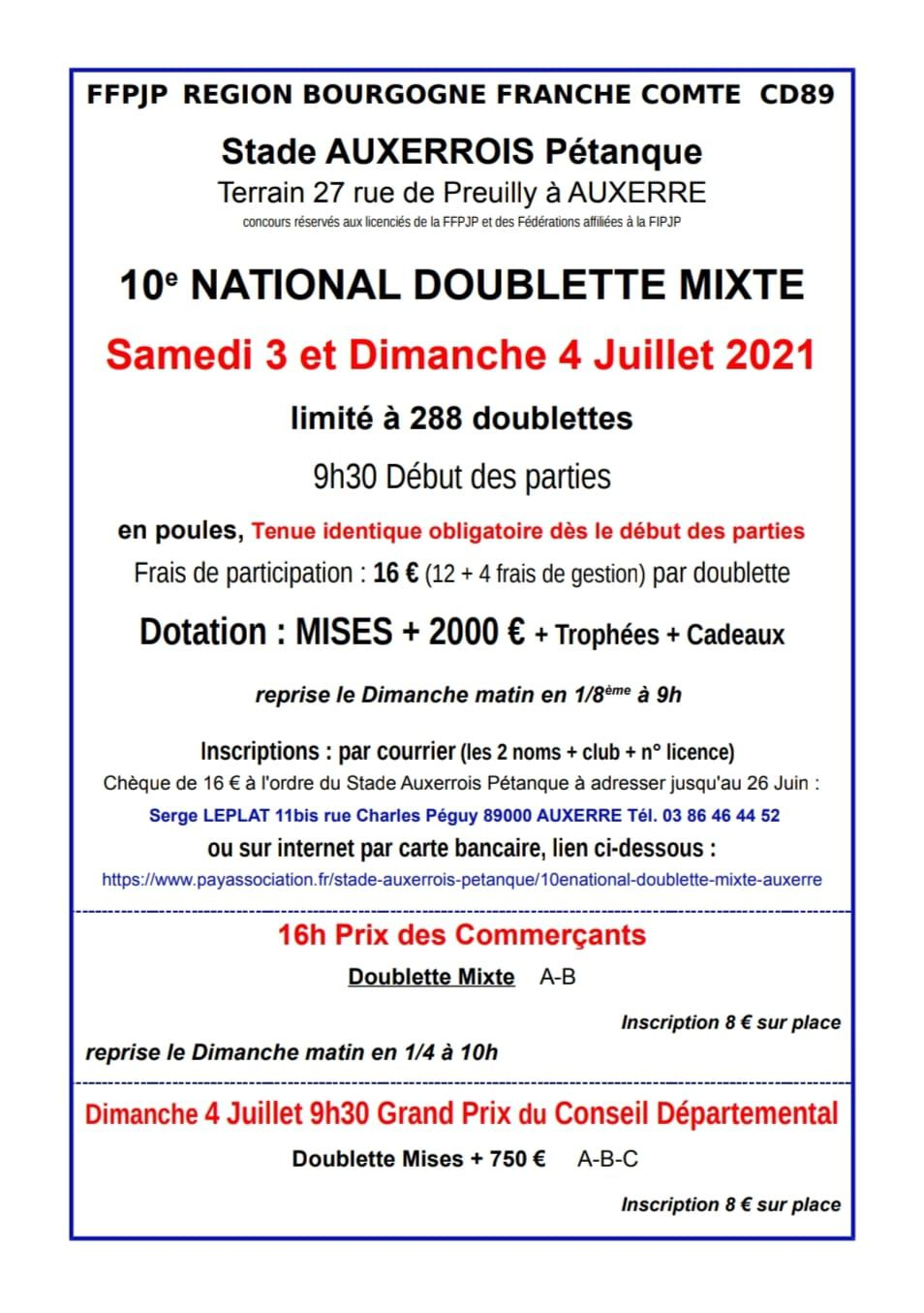 NATIONAL DOUBLETTE MIXTE 2021 : affiche et inscription