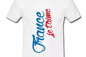 T shirt blanc pour hommes France je t'aime