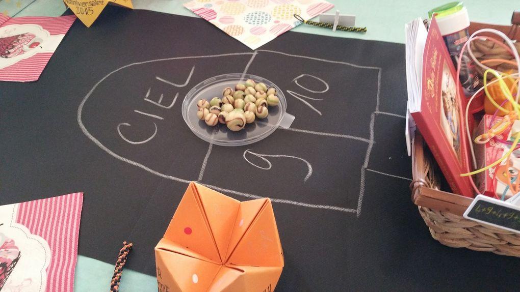 Anniversaire - 2015 - Repas - Gâteau - Enfance - Verrine - Croissants - Jeux - Marelle - Cocottes - Menu