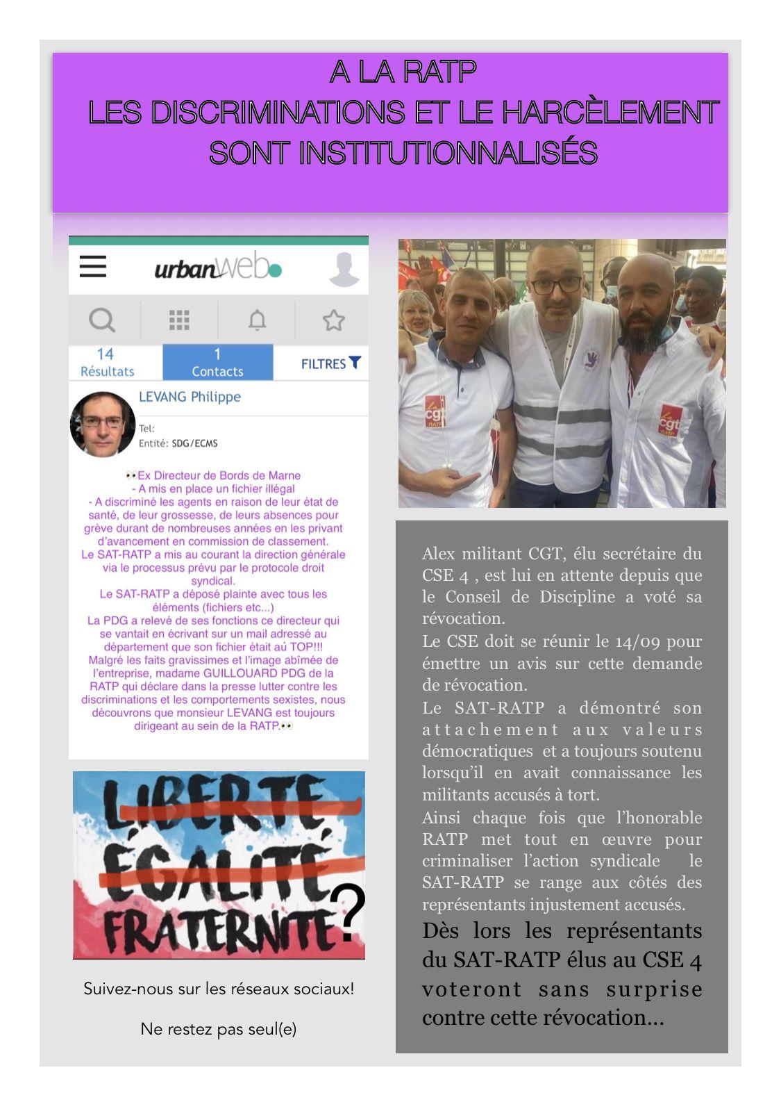 A la RATP les discriminations et le harcèlement sont institutionnalisés