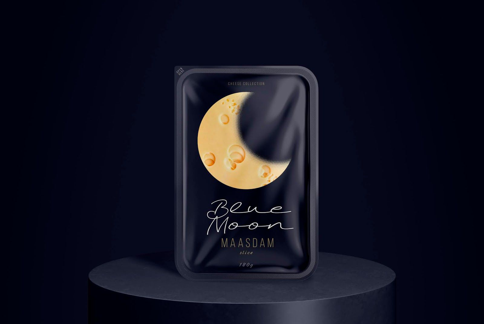 Blue Moon (fromage) I Design (concept) : Commersart, Russie (mars 2021)