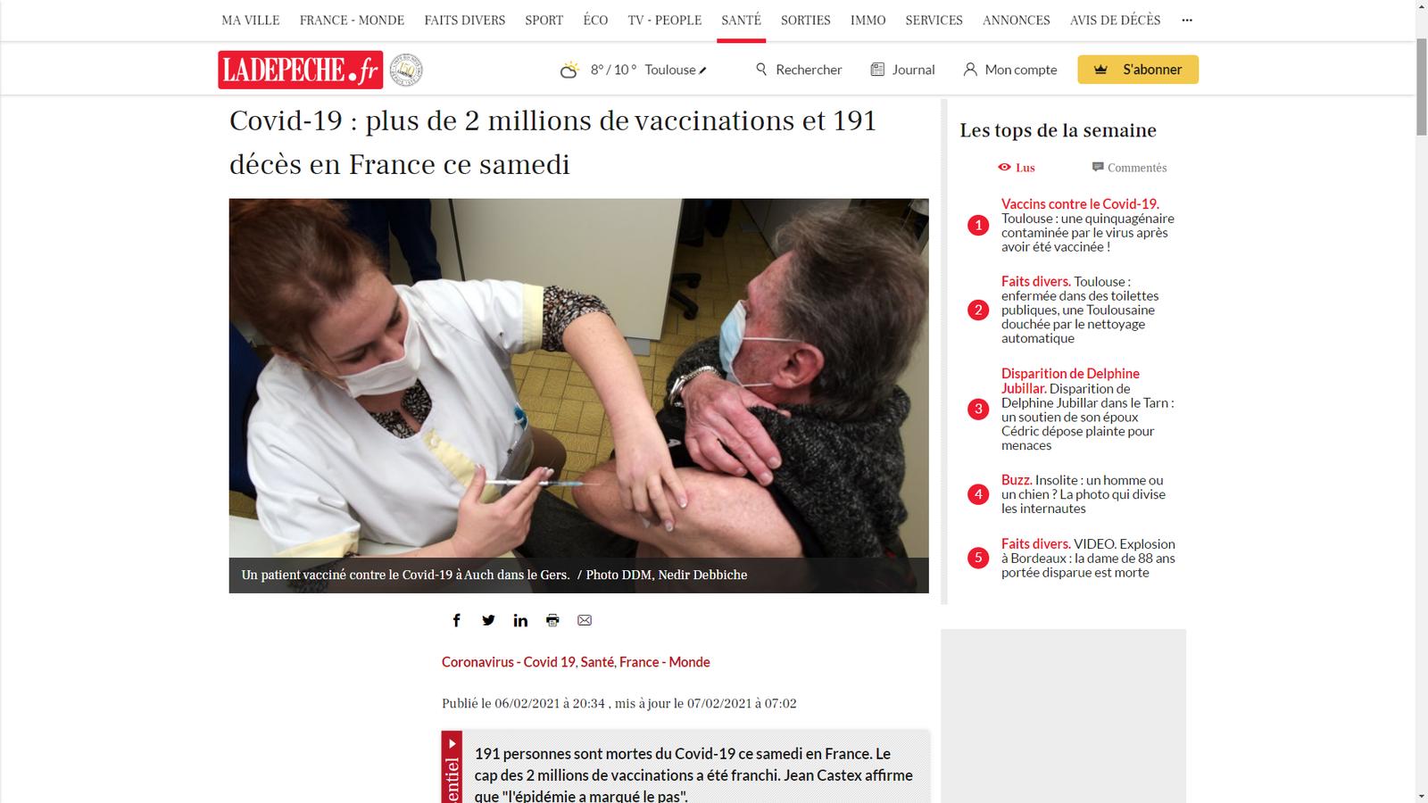 """Covid-19 : 2 millions de vaccinations, Jean Castex affirme que """"l'épidémie a marqué le pas"""", cependant les experts affirment que """"le vaccin n'est PAS le principal moteur de la chute des contaminations"""" (DailyMail)"""