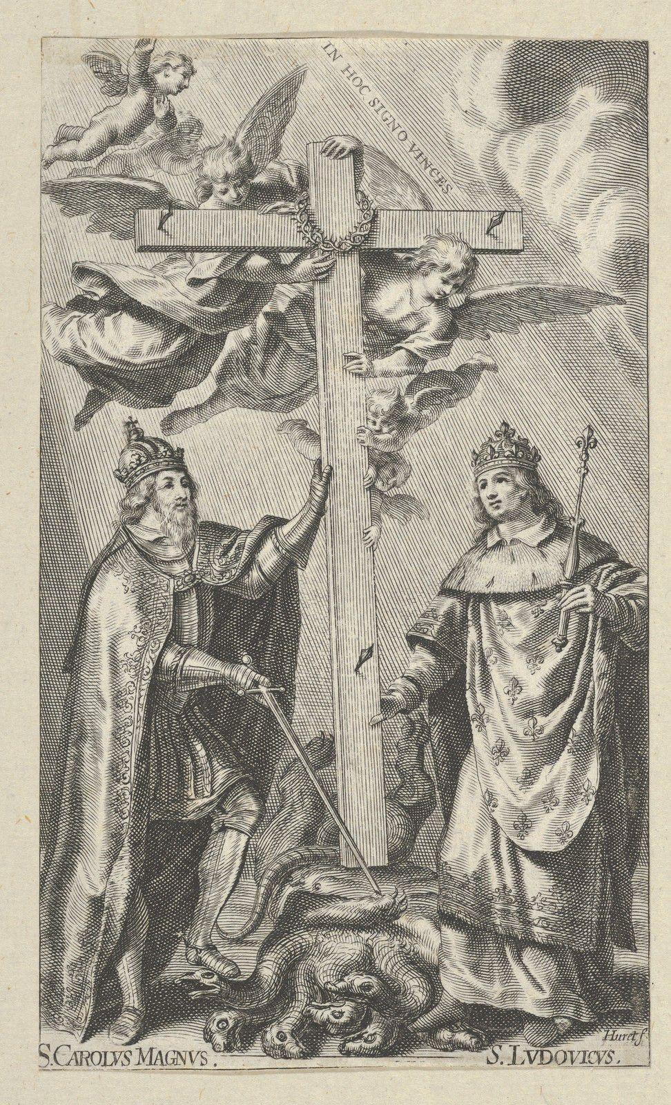 Saint Charlemagne et saint Louis, gravure de Grégoire Huret (XVIIe siècle, Metropolitan Museum)