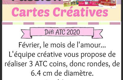 Défi ATC Février 2020 sur le blog PASSION CARTES CREATIVES