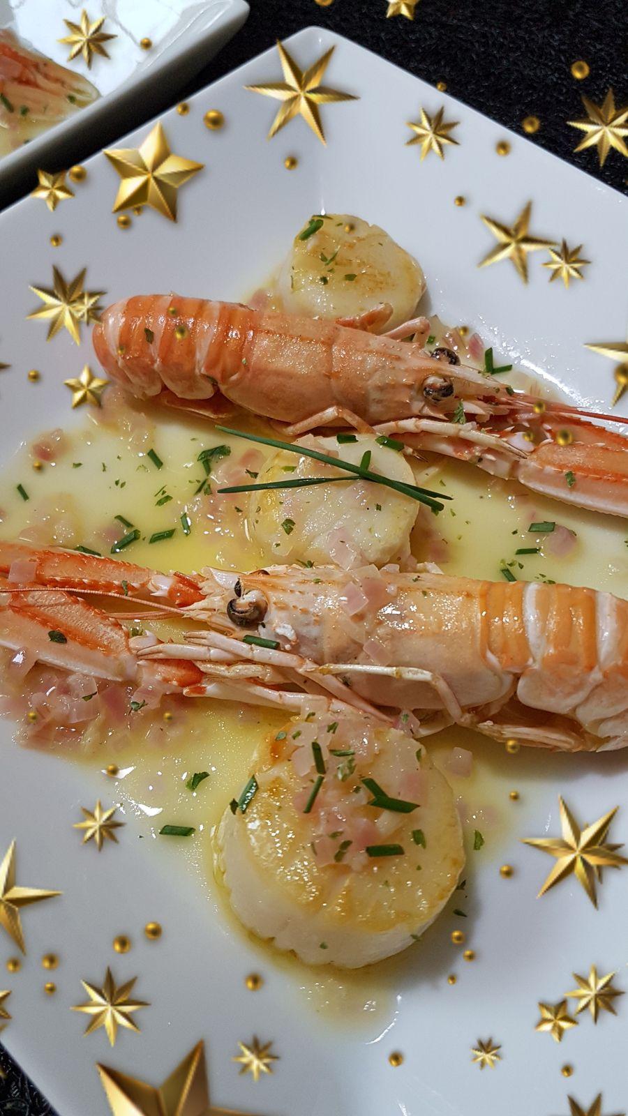 spécial fêtes de fin d'année n°9 - Duo de Saint-Jacques et langoustines à la sauce citron gingembre