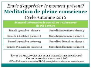 Dates du cycle de pleine conscience Automne 2016 - Luttre