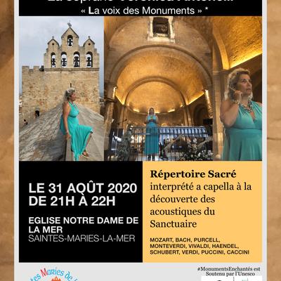 Divine Recital aux chandelles à Saintes-Maries-De-La-Mer 31 aout 2020 avec Veronica Antonelli