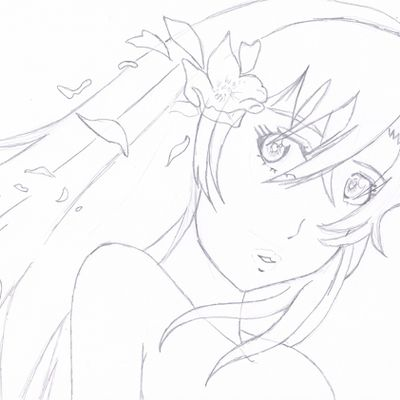 fille manga fleur au crayon