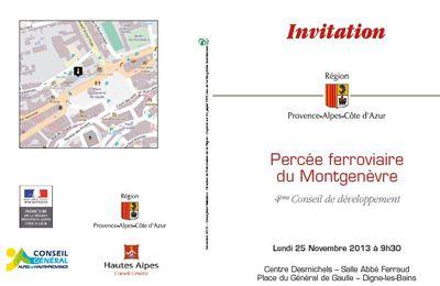 Percée ferroviaire sous le Montgenèvre: invitation au conseil de développement ...
