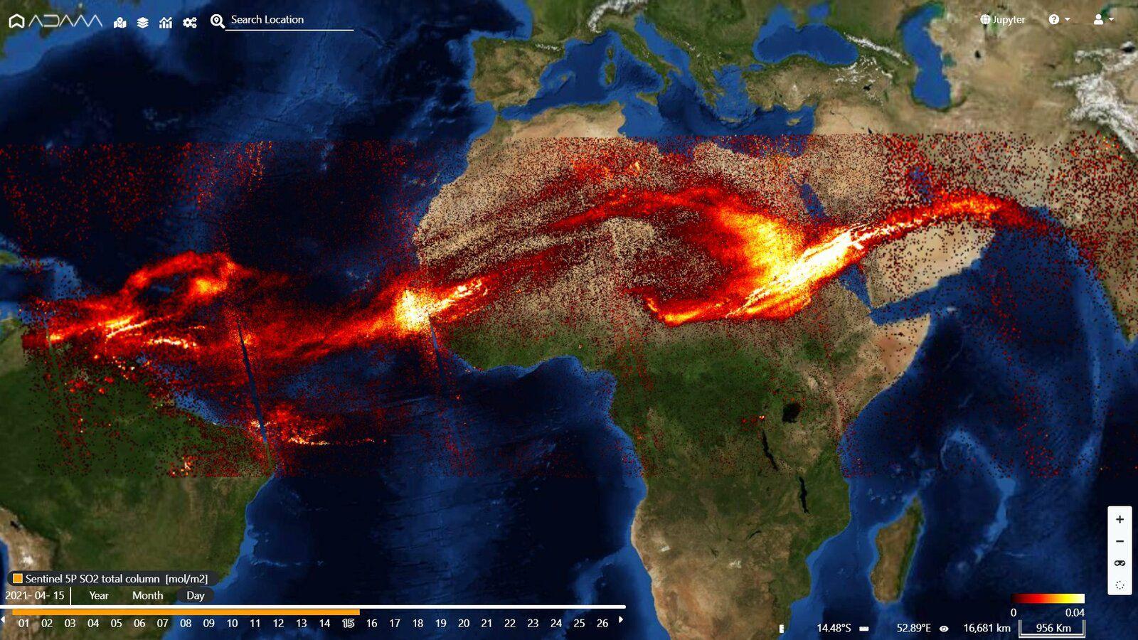 Les émissions de SO2 de la Soufrière, après avoir traversé l'Atlantique, atteignent l'Inde ce 15.04.2021 - image Sentinel 5P - via Adam Platform