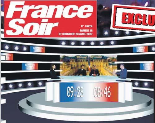 Le plateau du débat Sarkozy - Royal (exclu France Soir)