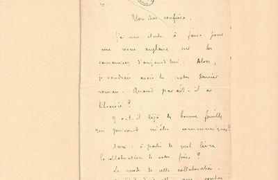 Lettre autographe signée de Remy de Gourmont à J.-H. Rosny aîné (1er octobre 1908)
