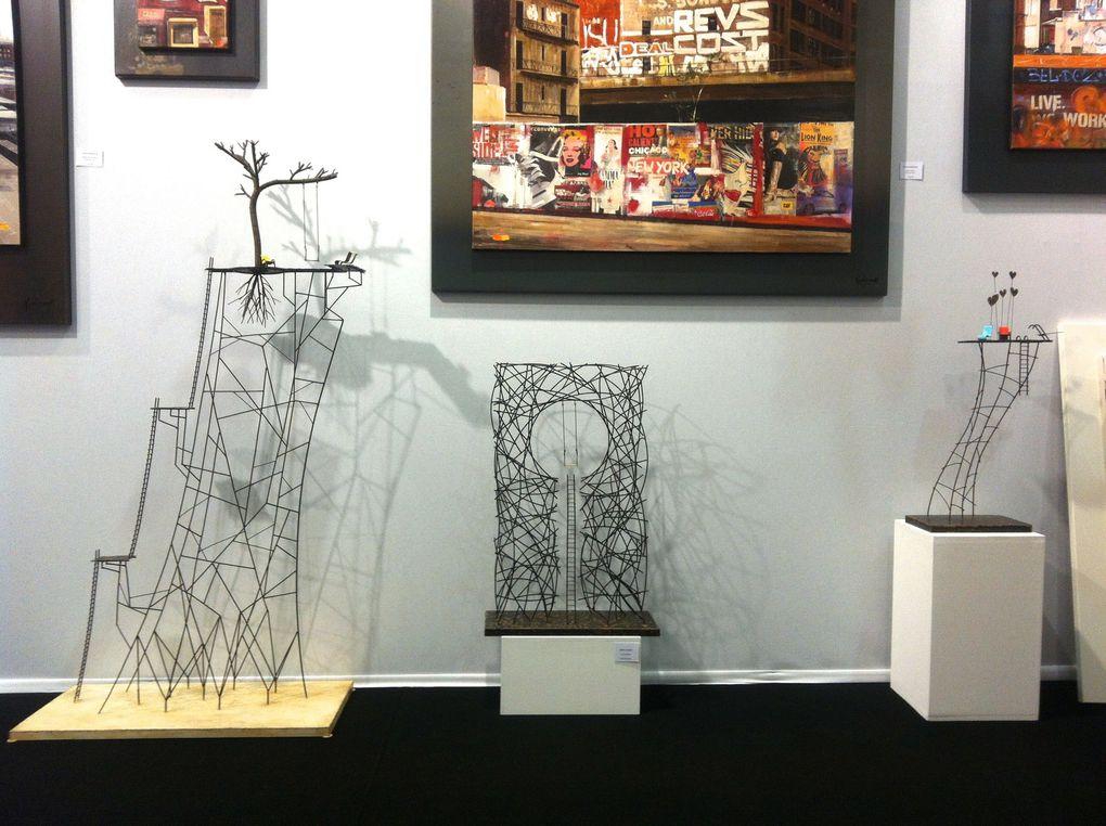 Stand Lill' Art Gallery (Lille). Peintures de Bernard Kowalkzuc, bronzes de Nancy Vuylstek de Laps, tableaux photo Christophe Boulanger