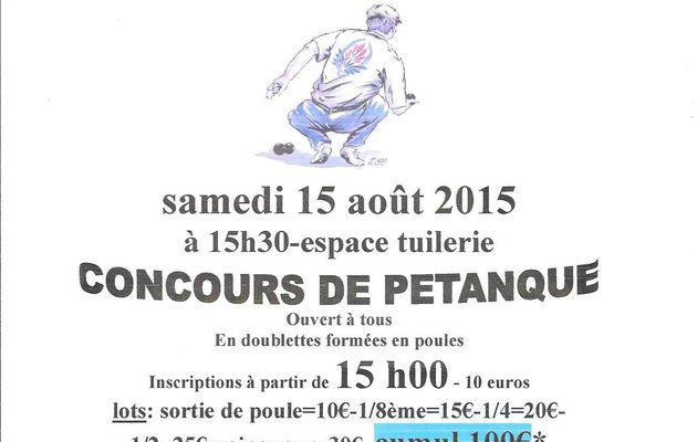 concours de pétanque-samedi 15 août 2015-comité des Amis du quartier de la gare