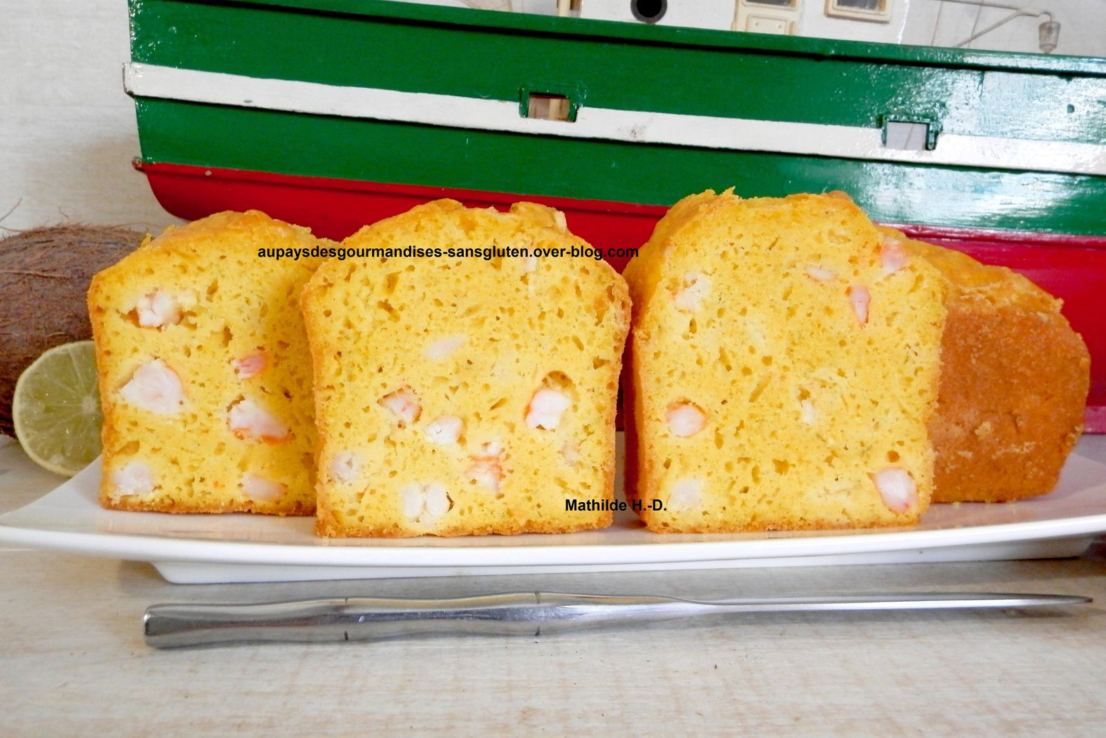 Cake Thaï d'après Ilona Chovancova : crevettes, coco, citron vert, curcuma