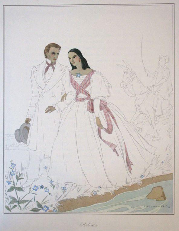 Illustrations de Vittorio Accornero pour la nouvelle de Gérard de Nerval, Sylvie, in Les filles du feu (1854).