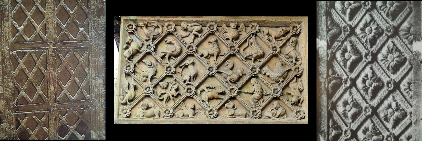 Chancel St-Pierre-aux-Nonnains, VIII ème, pierre ornée de losanges.   Cathédrale St-Etienne, portail nord de Notre-Dame la Ronde, bestiaire. Portail Saint-Etienne, XIII ème, treillis à gros boutons floraux.