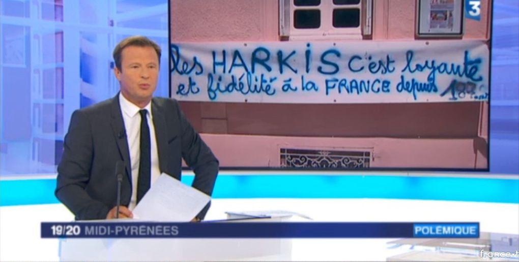 Manifestation avec les harkis, devant les bureaux du - journal d'ici - à Castres (81) France 3 midi-Pyrénées