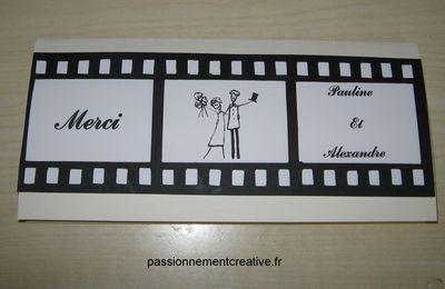 Carte de remerciement - Mariage Thème Cinéma