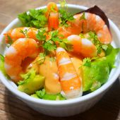 Avocat aux crevettes sauce cocktail - Recettes de Papounet