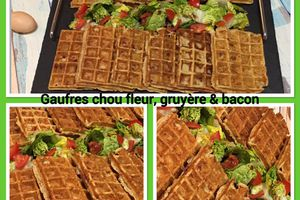 Gaufres au chou-fleur, gruyère et bacon