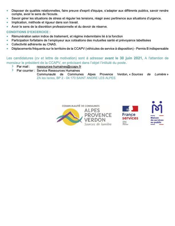 Offre emploi Annot : Agent d'accueil , candidatures 30 juin