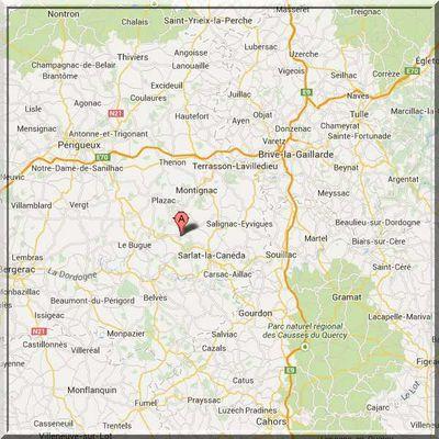 Dordogne - Condat sur Vézère - Position commanderie sur carte