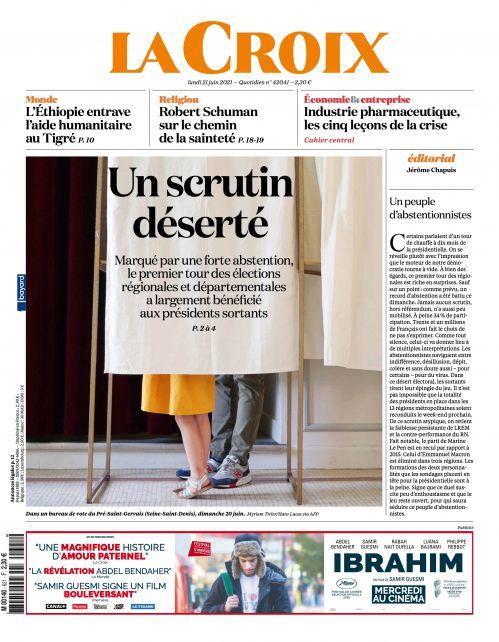 La une de la presse quotidienne nationale ce lundi 21 juin.