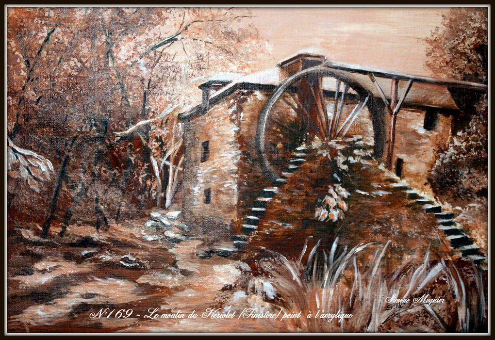 scènes de la vie rurale  peintes à l' acrylique en onochrome