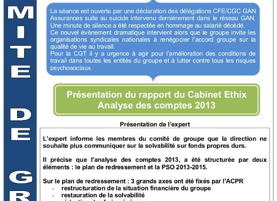 Comité de groupe 23 septembre 2014 - Analyse des comptes, situation du groupe, effectifs (8 pages)