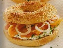 Recette cuisine fitness :Bagels au saumon frais et...