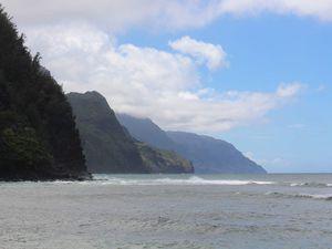 Ke'e Beach, avec vue sur Na Pali Coast