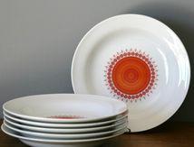 Assiettes Winterling Bavaria Décor rouge et orange Années 70 - Vintage