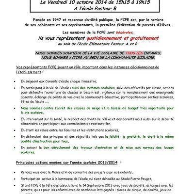 Elections des parents d'élèves - Pasteur