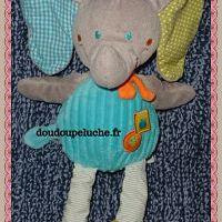 Doudou éléphant mots d'enfants bleu gris vert, velours, doudoupeluche.fr