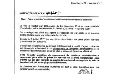 COLOMBES, APRES LA TENTATIVE DE SUPPRESSION DE REMBOURSEMENT DU PASSE NAVIGO POUR CERTAINS AGENTS, SUPPRESSION DE LA PRIME D'INSTALLATION