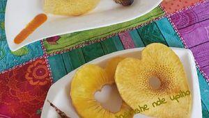 Fruit à pain coupé en ❤ et frit