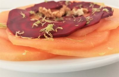 Carpaccio de melon et de betterave au citron