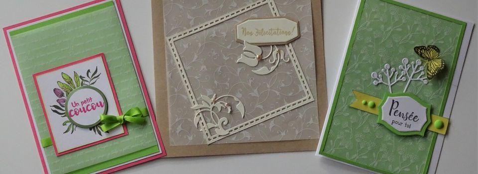 Cartes réalisées avec le bloc de papier imprimé vellum - PAP 825