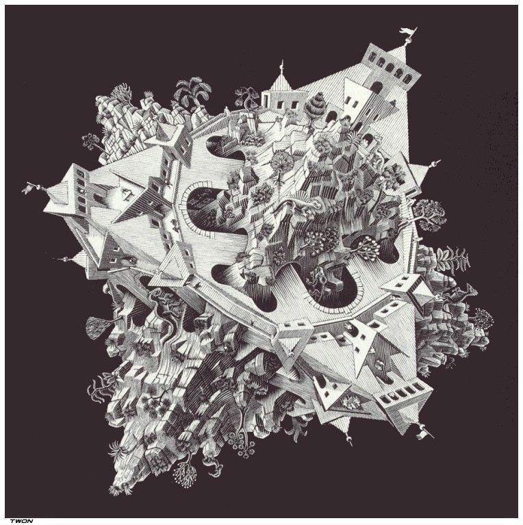 Double planetoid (1949) de Escher