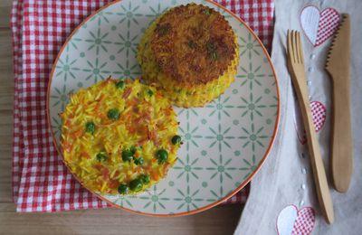 Gâteaux de riz aux petit-pois et carottes