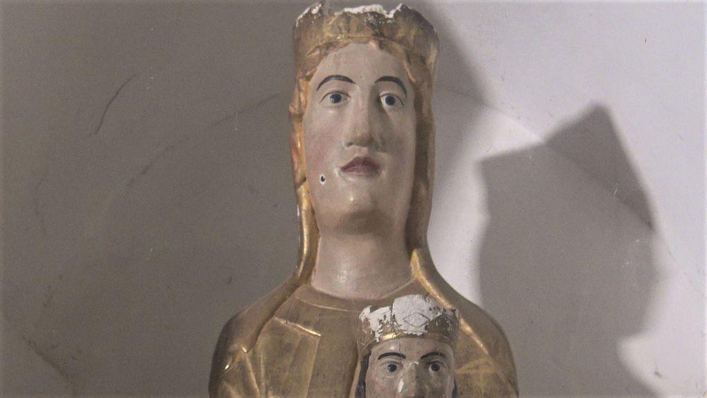 Les têtes de la Vierge des Infournats et de l'Enfant Jésus