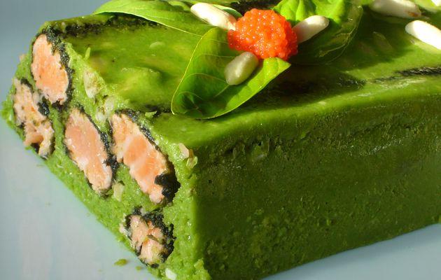 Terrine japonaise : petits pois, saumon, feuilles de nori