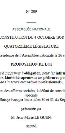 Ordres... Proposition de Loi