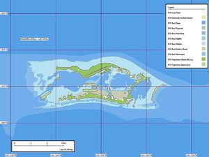 A gauche, carte maritime de Palmyra - doc. NOAA - à droite, Palmyra - doc Marplot Map (1-50,000) - Pjminton - un clic pour agrandir